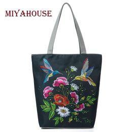$enCountryForm.capitalKeyWord Canada - Miyahouse Colorful Floral And Bird Print Shoulder Bag Women Lmitation Embroidery Casual Tote Handbag Female Canvas Lady Handbag