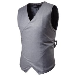Wholesale new waistcoat designs for sale - Group buy Mens Drawstring Button Casual Vest Suit Brand New Fashion Concise Design Solid Color Sleeveless Male Waistcoat Plus XL