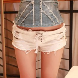 Wholesale Summer Spice Girls Europe and America Style Sexy Nightclubs Hot Jeans Vintage Ripped Hole Side Zip Elastic Waist Shorts Denim