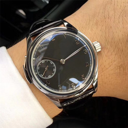 Stainless Steel Unisex Luxury Watches Australia - 44mm Watches Men Wristwatches Stainless Steel Case Black Leather Band Black Dial Mechanical Hand-winding Movement Luxury Men's Watches I6