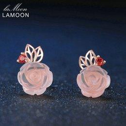 LAMOON 9 мм цветок розы натуральный розовый Розовый кварц сделано с 925 стерлингового серебра ювелирные изделия Серьги стержня LMEI015 D1892005