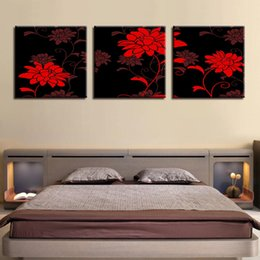 art canvas prints Australia - Wall Art Canvas Paintings Framework Living Room Home Decor 3 Pieces Bright And Stunning Red Flowers Pictures HD Prints Posters