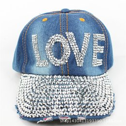 b36a7b1b421 Fashion Design Bling Rhinestone Crystal LOVE Letter Baseball Caps For Men  Women Casual Denim Jeans Snapback Cap Hats Casquette