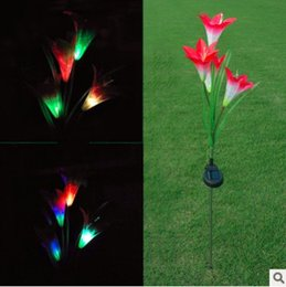 $enCountryForm.capitalKeyWord NZ - Multi-color Changing LED Solar Lily Flower Outdoor Garden Stake Lights Solar Powered Lights Decorative Light Silk Lily Flower with 4 Heads