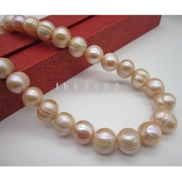 Chinese  charming AAA+ 12-13MM South Sea Pink Pearl Necklace 35 Inch 14k yellow gold clas manufacturers