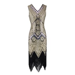 Chinese  Women Vintage 1920s Flapper Dress V Neck Sequined Fringed Cocktail Party Dress 20s Gatsby Costume for Prom Evening manufacturers