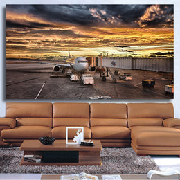 aircraft paintings 2019 - 1 Pcs Canvas Prints Aircraft on Calgary International Airport Wall Pictures for Living Room No Frame cheap aircraft pain