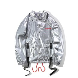 Military woMan coats online shopping - 2019 men women Laser ribbon hip hop loose long coat trench military kanye west fear of god winter coat Windbreaker Jackets