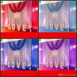 Ingrosso 10ft * 20ft wedding party fase celebrazione sfondo raso tenda drappo pilastro soffitto sfondo decorazione matrimonio velo 3 m * 6 m