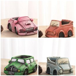 Green truck cars online shopping - Car Shape Plant Pots Breathable Truck Planter Miniature Planters Mini Cement Flower Pot For Home Decoration High Quality cr YB
