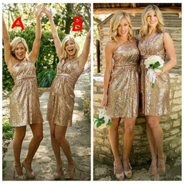 $enCountryForm.capitalKeyWord NZ - 2018 Short Gold Bridesmaid Dresses For Junior Bling Sequins Ruffle One shoulder v neck Maid of honor Gowns Custom made