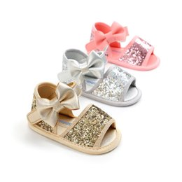 91639e1176a6 2018 New Bow Princess Baby Infant Kids Girl Soft Sole Crib Toddler Summer  Sandals Shoes Sequined baby sandals 0-18M