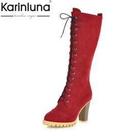 Discount riding boots fashion knee high - KARINLUNA Size 34-40 Platform British Style Retro Spike High Heels Women Shoes Woman Fashion Party Date Lady Riding Boot