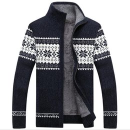 Barato Mens Camisola Extra De Warm-Brand Cardigan Striped Fashion Casual Patchwork Sweater Men Thick Warm Zipper Collar Vestuário de malha Mens Sweater homens casacos