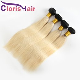1b 613 ombre straight hair weave 2020 - Two Tone 1B 613 Peruvian Virgin Silky Straight Colored Weaves Cheap Dark Roots Platinum Blonde Ombre Human Hair Extensio