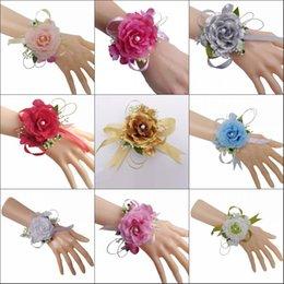 Mix Farben Braut Handgelenk Blume Corsage Brautjungfer Schwestern Hand Blumen Hochzeit Prom künstliche Seide Blumen Armband