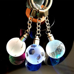 Coloured key Chain online shopping - World Cup Night Light colours creative gift luminous Crystal key buckle Football Basketball Earth Key Chain for World Cup fans