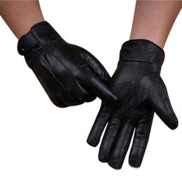 Wholesale 2018 New Arrival Men Fashion Warm Winter Gloves Cashmere Leather Male Gloves Driving Waterproof pour hommes Dropship J06