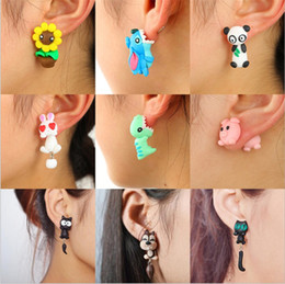 Cute fox jewelry online shopping - Cute D Animal Handmade Soft Rabbit Dinosaur Dog Cat Fox Pottery Earrings Stud Earring Christmas Birthday Party Jewelry Gift for Girls