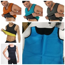 Wholesale 6styles Body Shaper Men Slimming Vest sport Neoprene Abdomen Fat Burning Shaper Vest Waist Sweat Corset Weight Loss Sweat T Shirt FFA868