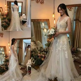 $enCountryForm.capitalKeyWord Australia - 2019 Vintage Beach Wedding Dresses A Line V Neck Cap Sleeve Sweep Train Bridal Gowns With Lace Tulle Plus Size Wedding Gowns
