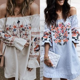 blue white print dress Canada - 2019 Hot Sale Spring Autumn Women Sexy Dress Girl Slash NeckFalbala Dress Europe And America White Blue Printed Polyester 2pcs Lot