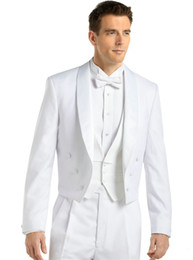 White Tailcoat Style Groom Tuxedos NZ - White Tailcoat Groom Tuxedos Morning Style Men Wedding Wear Shawl Lapel Double-Breasted Men Formal Prom Party Suit(Jacket+Pants+Tie+Vest)100