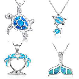 Nueva moda linda de plata llena azul ópalo colgante de tortuga de mar collar para mujer mujer animal boda Ocean Beach regalo de la joyería en venta