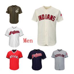 a1e4dd431d Mens Indians Baseball Team Jersey Blank Jersey Sin nombre No Número Rojo  Navy Blanco Crema Gris Gris Verde Saludo al servicio