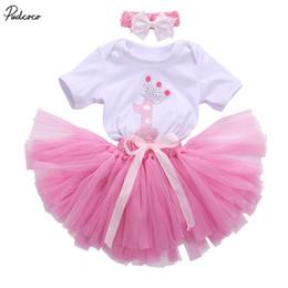 febe590e5845 3PCS New Baby Girl 1st Crown Romper Bodysuit Headband Birthday Tutu dress  Outfit