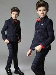 Boys Blue pinstripe suit online shopping - Popular High Quality Kids Wear Fitted Double Breasted Notched Lapel Navy Blue Pinstripe Thre Pieces Jacket Pant Vest Boys Wedding Tuxedos