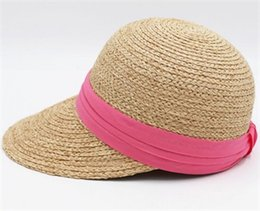 ee6b749d Brand White Ribbon Nature Raffia Straw Sun Visors Women Summer Beach  Holiday Caps Ladies Natural Handmade Visor Cap Wholesale Hats