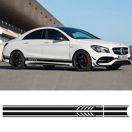 sports stickers cars NZ - Edition 1 Style Sport Side Stripes Skirt Decal Car Sticker for Mercedes Benz W117 C117 X117 CLA AMG Car Styling Accessories