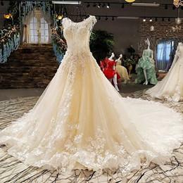 $enCountryForm.capitalKeyWord NZ - Light Champagne Wedding Gown Royal Train Appliques See Through Back Cape Sleeeve Beading Bow Flowers A-Line Wedding Dresses