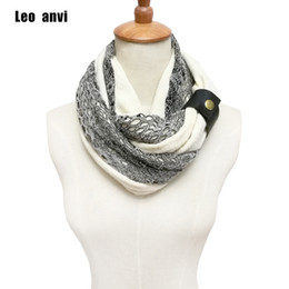 Discount white cotton infinity scarf - Leo anvi Fashion designer White Navy winter lace ring Scarves style women cotton colorful crochet Infinity Knitted scarf
