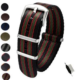 Discount band belts - 20mm 22mm Seat Belt Nylon NATO Zulu Strap Heavy Duty Watch Band Replacement Watch Straps Black Blue Grey James Bond