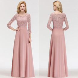 mother bride lace dresses ruffles Australia - New Dusty Rose 2019 Cheap Mother Of The Bride Dresses With 3 4 Long Sleeves Evening Gowns Custom Made Prom Dress BM0056