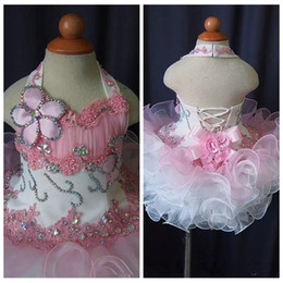 Cupcake Tutu NZ - Halter Lace Toddler Pageant 2019 Cupcake Dress Baby Girls Short National Glitz Tutu Formal Wear Party Dresses For Infant Birthday Party Gown