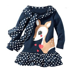 LoLita fLared dress online shopping - Girls Little Fawn Dresses Dots Striped Pink Tassels Swan Little Monster Cartoon Sequined Appliqued Printed Skirt Outfit T