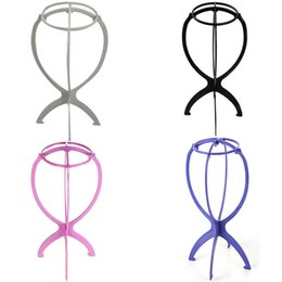 plastic wig cap 2019 - Adjustable Wig Stands Plastic Holding Standing Folding Salon Practice Portable Hat Wig Stand Hair Cap Display Stand Tool