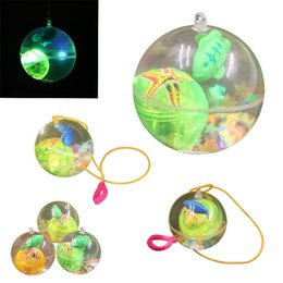 Crystal ropes online shopping - Children Luminescence Transparent Crystal Ball With Rope Elastic Force Flash Of Light Bouncy Balls Toy New Arrival zp W
