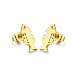 $enCountryForm.capitalKeyWord UK - Gold Color Fashion Simple Lover's Fish Bone Earring Stainless Steel Stud Earrings Jewelry Gift for Lady Girls J055
