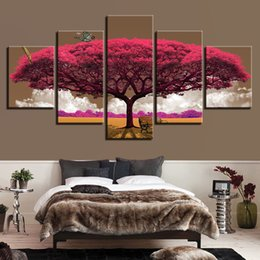 Canvas HD Prints Pictures Wall Art Butterfly Posters 5 Pieces Purple Red Tree Scenery Paintings Living Room Home Decor Framework