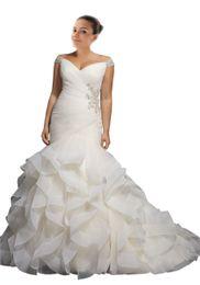 Backless Wedding Dress Designers UK - 2019 New Arrival Wedding Dress Mermaid Plus size Cheap V neck Off shoulder Cap Short Sleeve With Bling Beaded Ruffles Country Designer