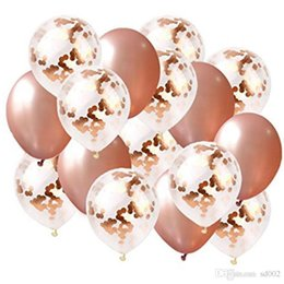 Happy birtHday dress online shopping - 16 Rose Gold Digital Balloon Sequins Round Party Dressing Air Balloons Happy Birthday Decor With Flags Set Reusable Flexible yr jj