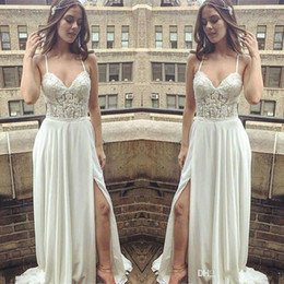 Vintage Dress For Muslim Australia - Sexy White Chiffon Beach Wedding Dresses Spaghetti Straps Top Lace Country Wedding Dress For Guests Summer Vintage Side Split Bridal Gowns