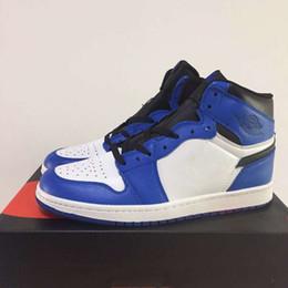 26dc4e7bdb99f8 With Box 1 High OG Game Royal Men Basketball Shoes Blue Moon Sports Sneakers  1s Women White Blue Black Toe 36-47