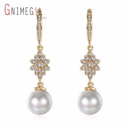 Chinese  GNIMEGIL Brand Jewelry Women Champagne Gold Filled Drop Earrings Simulated Pearl Dangle Earring Round Pearls Dropship manufacturers