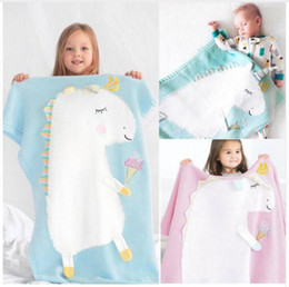 unisex baby blankets crochet 2019 - Kids Newborn Unicorn Blankets Baby Cartoon Ins Animal Crochet Knitted Bed Air Conditioning Napping Wool Throw Blanket Bo