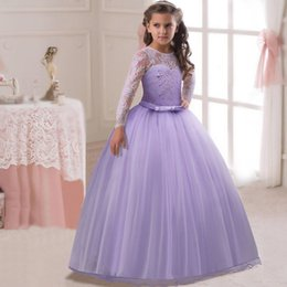 lemon print dresses Canada - Flower Girls lace Flower Dresses Purple Princess Girls ball gown wedding dress Birthday party First Communion dress D12